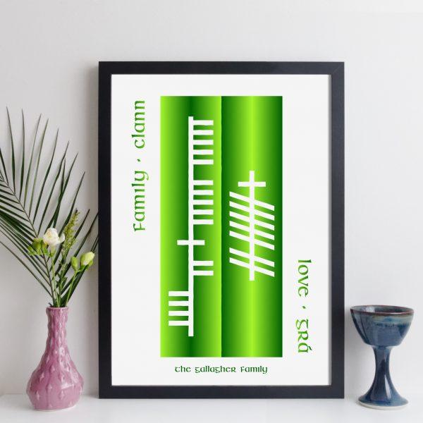 elevencorners personalised ogham double words print