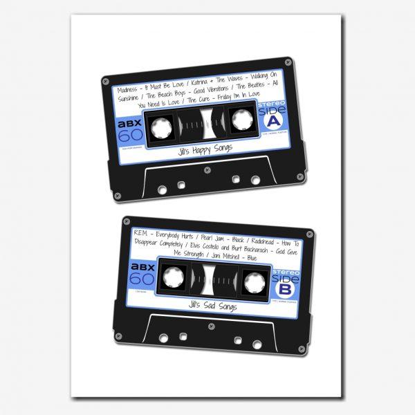 personalised cassette tape print