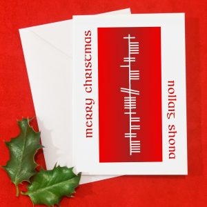 Ogham Christmas Card in Red or Green